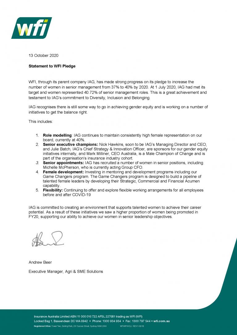WFI Pledge - Statement